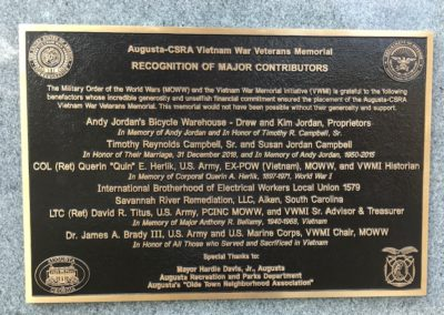 Major Contributors Bronze Plaque
